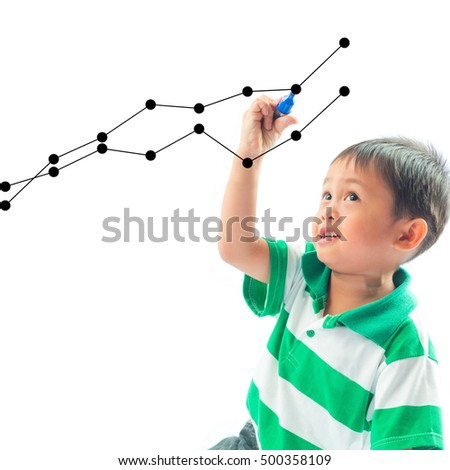 Asian little boy drawing graphics a growing graph.