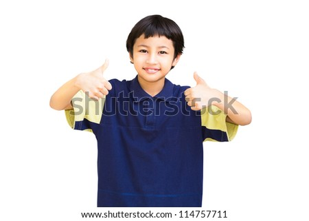 Asian little boy giving you thumbs up, Isolated on white background - stock photo