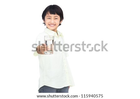 Asian Little boy holding glass of water, Isolated on white with clipping path - stock photo