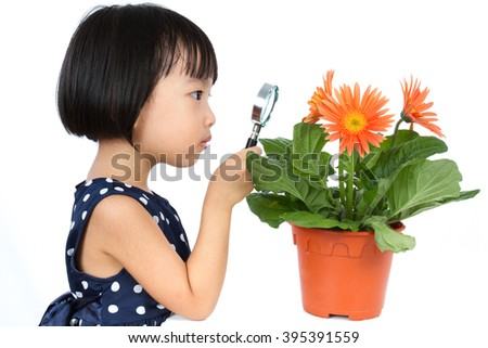 Asian Little Chinese Girl Looking at Flower through a Magnifying Glass isolated on White Background - stock photo