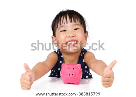 Asian Little Chinese Girl With Piggy Bank  isolated on White Background - stock photo