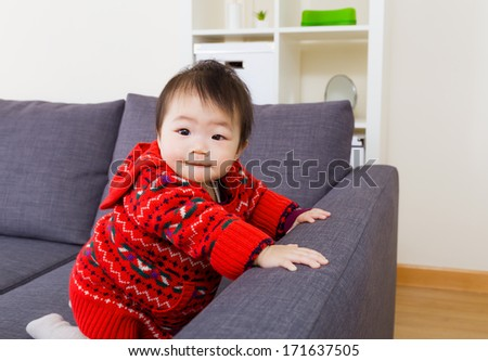 Asian little girl at home