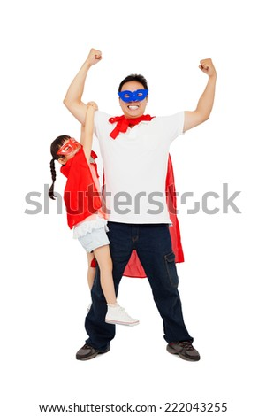 asian little girl hanging his father arm with superhero suit. isolated on white  background  - stock photo