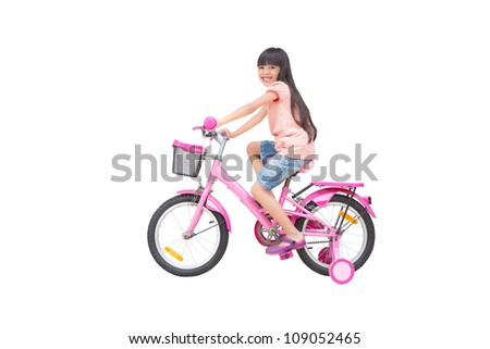 Asian little girl on bicycle, Isolated on white - stock photo