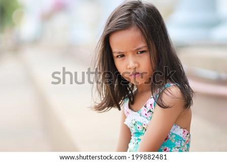 Asian little girls are angry - stock photo