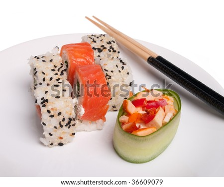 Asian lunch (plate of sushi isolated on the white background)