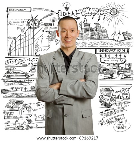 asian male businessman in suit, looking on camera
