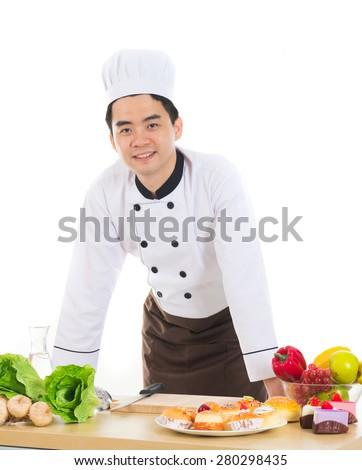 asian male chef - stock photo