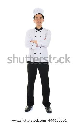 asian male chef full body - stock photo