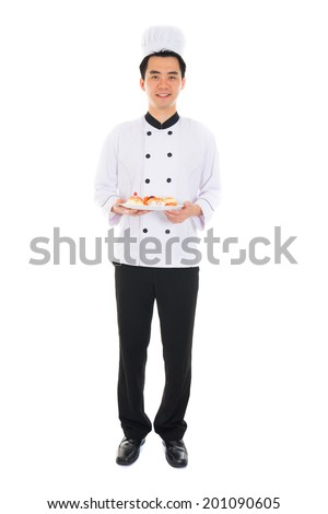 asian male chef isolated white background - stock photo