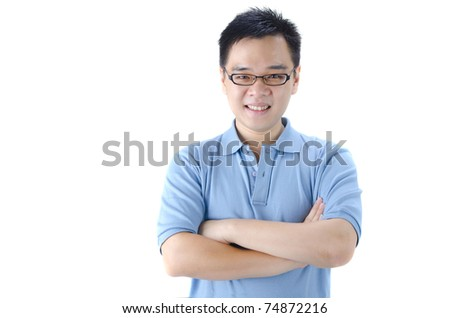 asian male with hands crossed and cusual cloth - stock photo