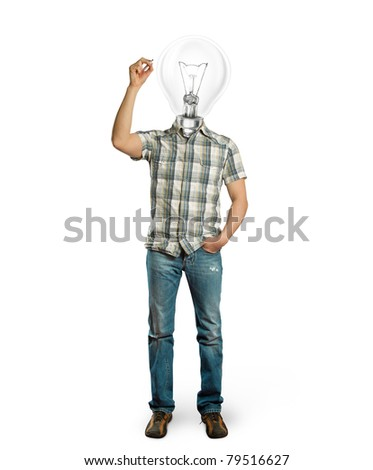 asian male with lamp writing something on glass board with marker - stock photo
