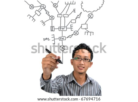 asian man drawing network diagram. All terms on diagram are generic IT equipments. - stock photo