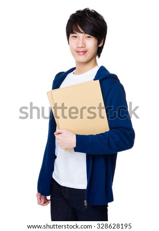 Asian man hold with folder