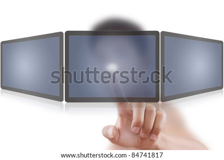 Asian man pushing on tablet screen.