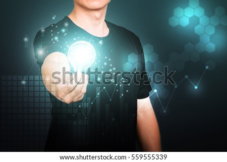 Asian man showing creative business strategy with light bulb as concept, double exposure with technology background.
