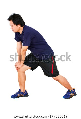 Asian Man Stretching Workout Isolated on White.