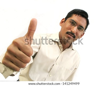 Asian man thumbsup for approval - stock photo