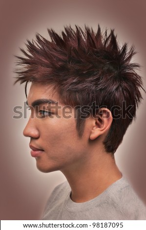 Asian man with a nice haircut and hairstyle - stock photo