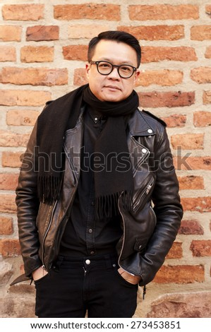Asian man with glasses - stock photo