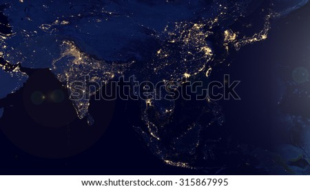 Asian Map Space View (Elements of this image furnished by NASA) - stock photo