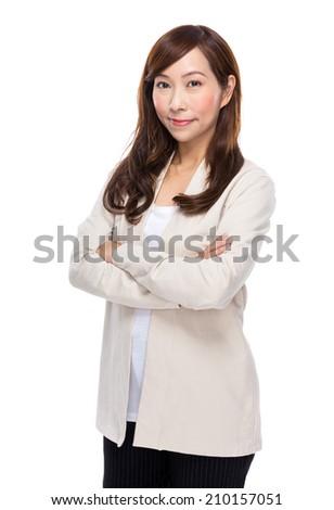 Asian mature woman portrait - stock photo