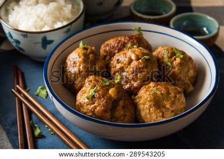 Asian Meatballs Served with White Rice - stock photo