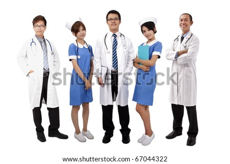 Asian medical team .Doctors and Nurses standing with white background - stock photo