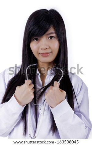 Asian medicine doctor woman, closeup portrait on white background.