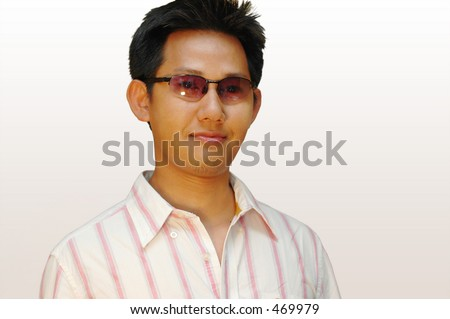 Asian men with glasses - Retro style - stock photo