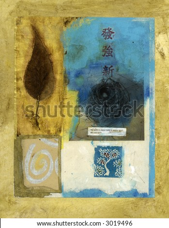 Asian mixed medium collage. Bird's nest, leaf, spiral, and tree. - stock photo