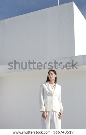 Asian model outside shoot in fashion casual clothes - stock photo