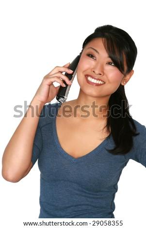 Asian model talking on phone - stock photo