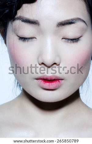 Asian model with lips covered in red juice.