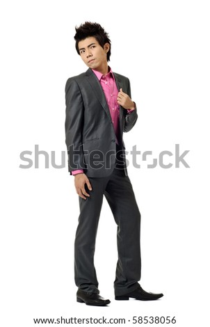 Asian modern business man, full length portrait isolated on white background. - stock photo