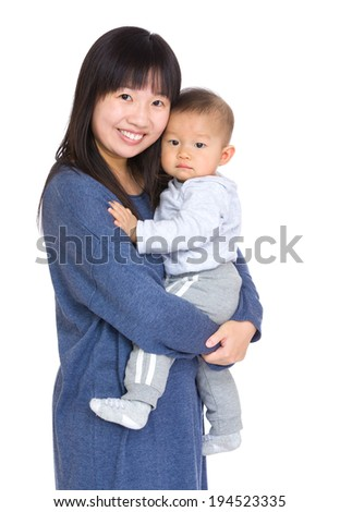 Asian mother and son - stock photo