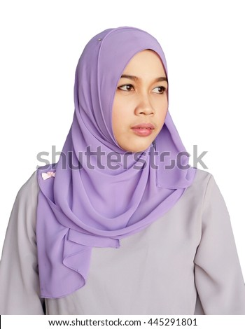 Asian Muslim woman with thinking face isolate on white background