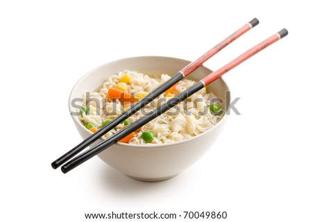 asian noodle soup on white background - stock photo