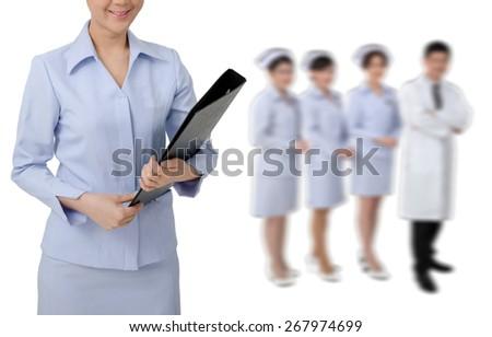 Asian Nurse in uniform with stethoscope on white background - stock photo