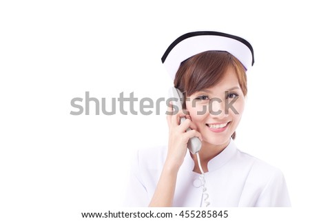 asian nurse on phone, concept of contact us, information, FAQ, help line or assistance - stock photo