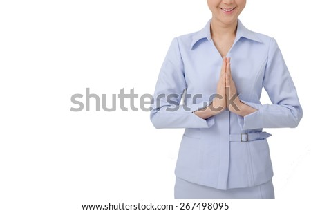 Asian Nurse Sawatdee in uniform with stethoscope on white background - stock photo