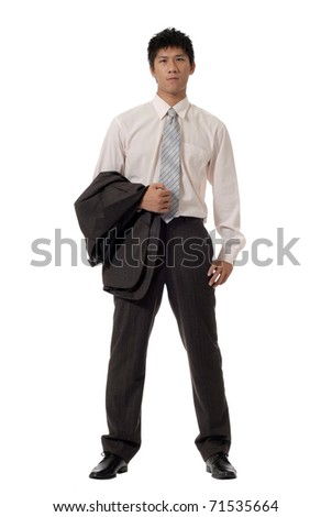 Asian office man, full length portrait isolated over white background.