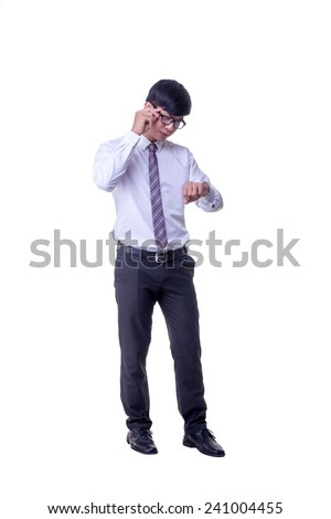 asian office man looking wristwatch - stock photo