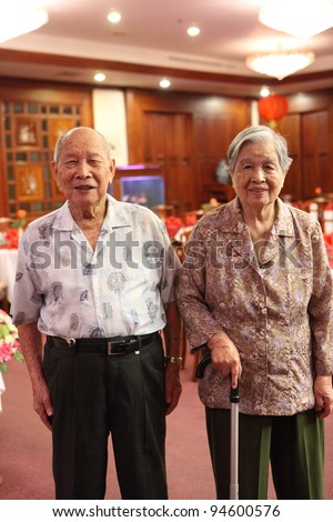 asian old man and woman - stock photo