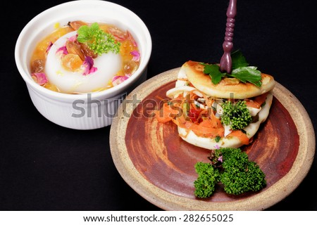 Asian Pancake and Pudding on Black Background - stock photo