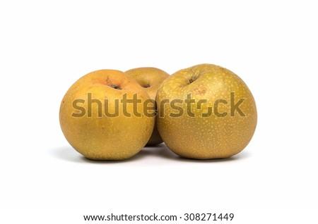Asian pear fruit on white background - stock photo