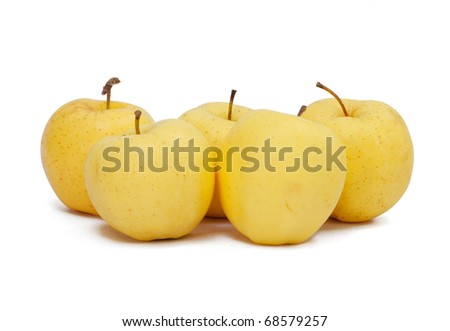 Asian pears in group isolate - stock photo
