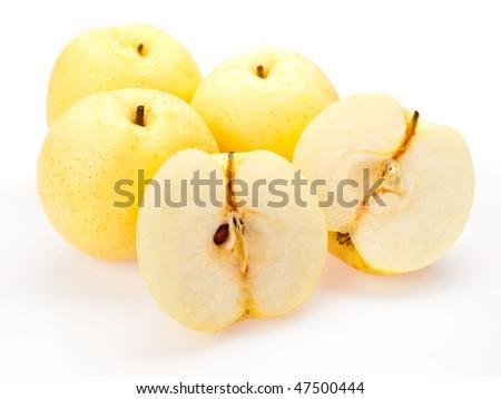 Asian pears sliced open presentation - stock photo