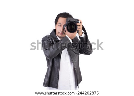 asian photographer in action isolate on white background