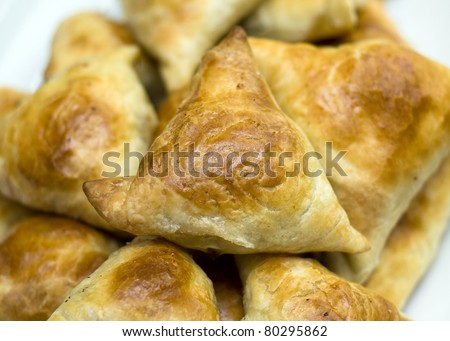 Asian pies with meat, samsa on the white background - stock photo